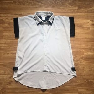 Black and White Collared Blouse with Back Cutouts